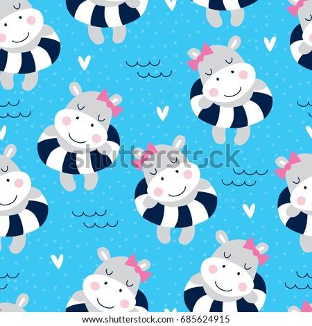 seamless cute hippo girl on the beach pattern vector illustration
