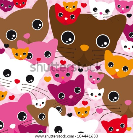 Seamless cute kitten cat background pattern in vector