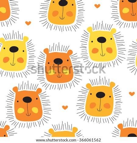 seamless cute lion cartoon