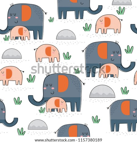 seamless cute mom and baby elephant design, great for wrapping and wallpaper, decorative paper hand drawn vector illustration
