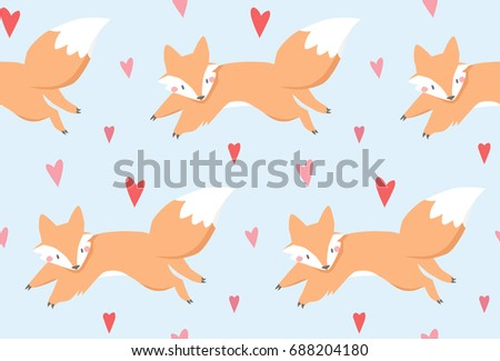 Seamless cute pattern. Vector. Fox and heart. Blue background.