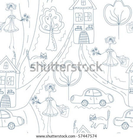 Seamless cute pattern with girl at the street with houses