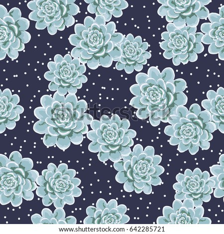 Seamless cute pattern with small-scale succulent flowers. Floral background for textile or book covers, manufacturing, wallpapers, print and gift wrap.