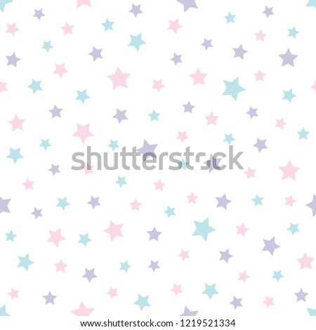 Seamless Cute Pattern With Stars In Baby Colors