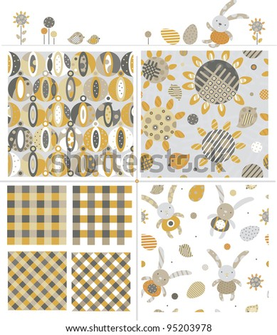 Seamless cute patterns and elements for Easter design.