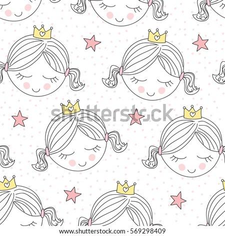 seamless cute princess pattern