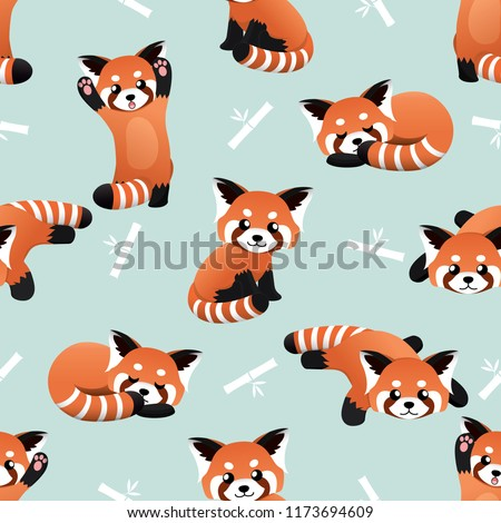 seamless cute red panda and bamboo vector pattern background. cute animal pattern