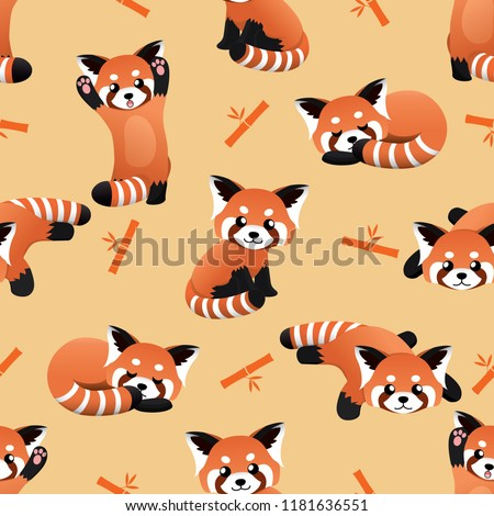 seamless cute red panda and