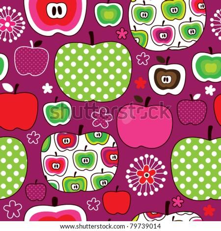 Seamless cute retro apple kids pattern in vector