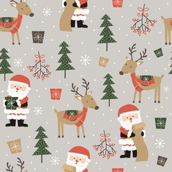 Seamless cute Santa and reindeer and Christmas ornament pattern background