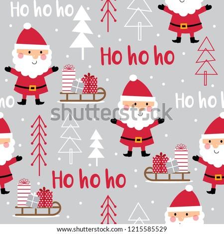 Seamless cute Santa Claus and Santa sleigh, vector illustration