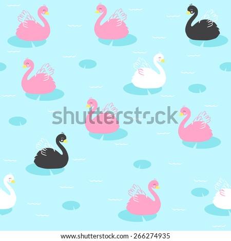 seamless cute swan background