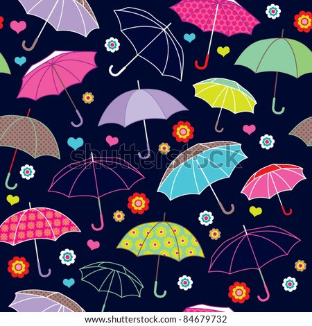 seamless cute umbrella background pattern in vector