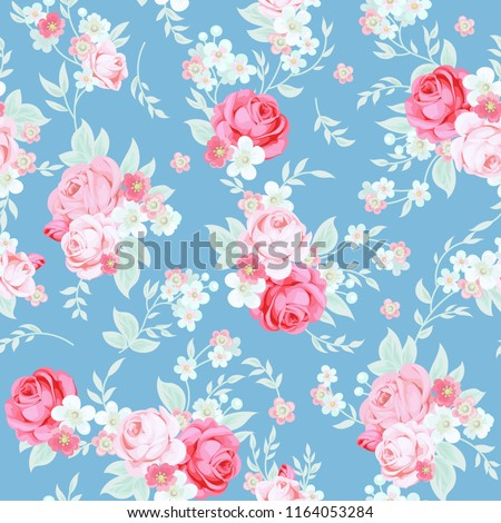 Seamless cute vintage pattern in shabby chic style