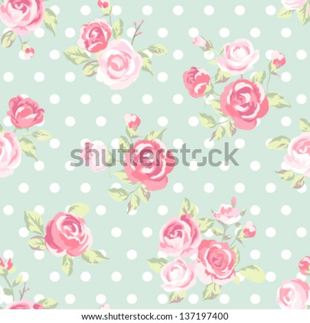 seamless cute vintage rose ,flower pattern vector background