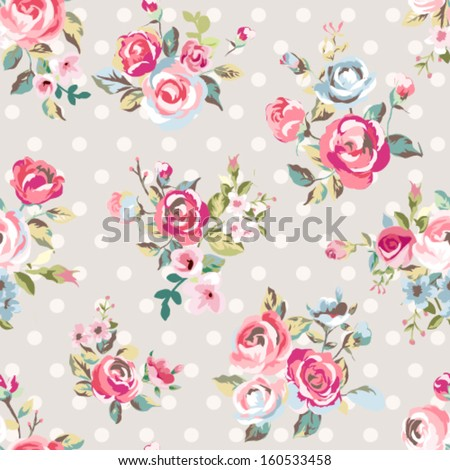 seamless cute vintage rose ,flower pattern vector on dots background