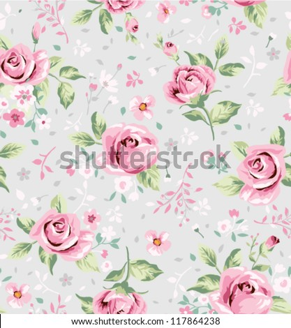 seamless cute vintage tiny flower pattern on grey background