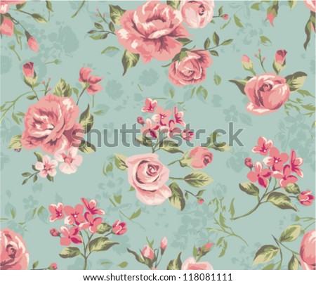 seamless cute vintage tiny flower with leaf  pattern background