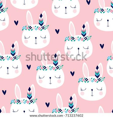 seamless cute white bunny...