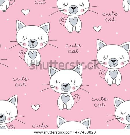 seamless cute white cat pattern