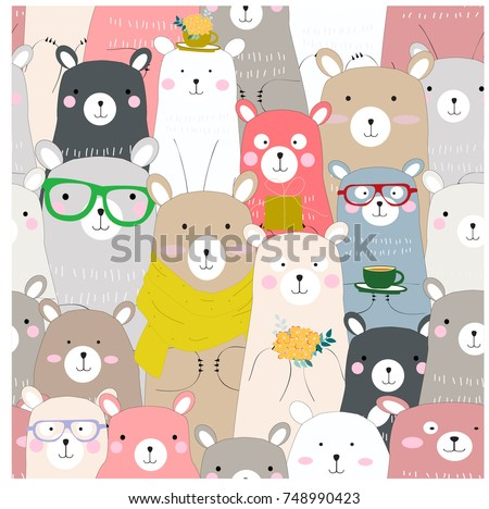 Seamless cute winter blue pink bear,pastel colorful,crowd of funny cerebrated baby teddy cartoon,for Christmas or New year card background pattern vector,hand draw doodle comic art illustration