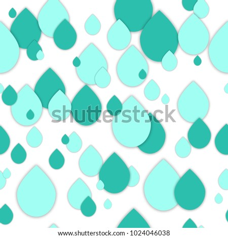 Seamless 3d pattern in trendy paper art style. Paper water drops collage background. Geometric design for banner, cover, brochure, template.  World Water Day - 22 march.  No visible mesh  borders