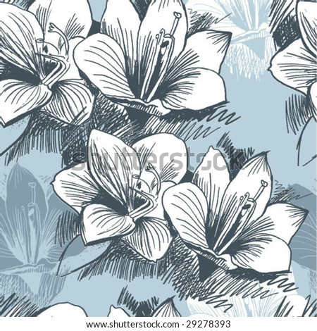Seamless Damask floral background from lily
