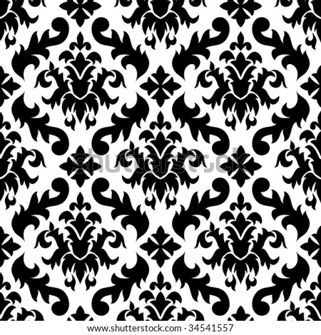 Free Black and White Damask Pattern