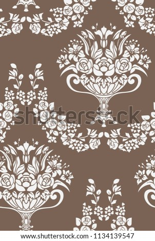 seamless damask vector vintage pattern flowery vase