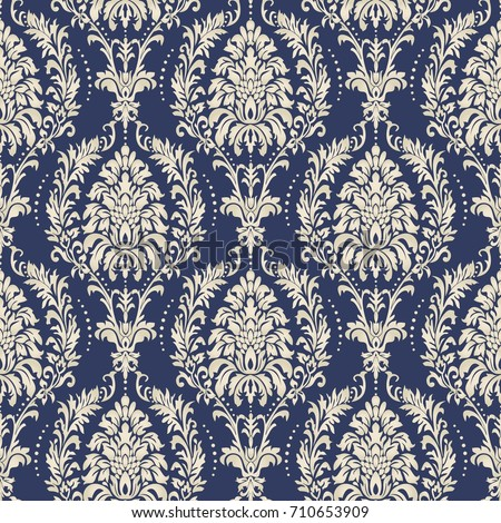 Seamless damask wallpaper. Seamless vintage pattern in Victorian style . Hand drawn floral pattern. Vector illustration.