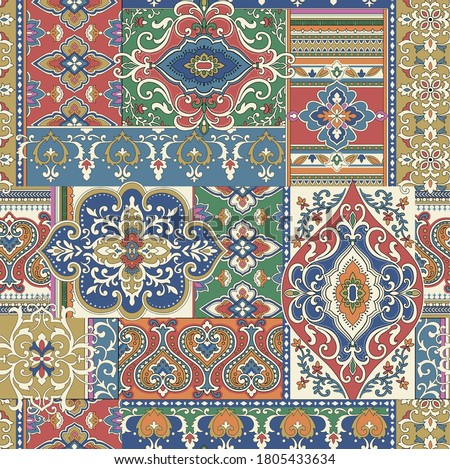Seamless damask with colorful patchwork. Vintage multi color pattern in Turkish style. Endless pattern can be used for ceramic tile, wallpaper, linoleum, textile, web page background. Vector