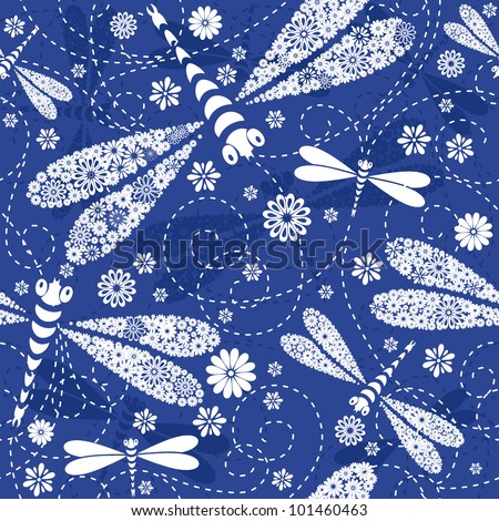 seamless dark blue floral