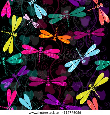 Seamless dark pattern with colorful dragonflies and translucent vintage curls (vector EPS 10)