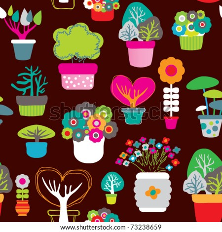 Seamless decoration flower pattern plants background in vector