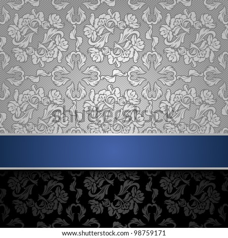 seamless decorative background silver with a blue ribbon. Can be used for invitations to any of your ceremony. For example a funeral.