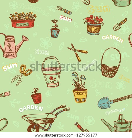 Seamless decorative hand drawn pattern with garden tools. Endless cartoon texture, template for design textile, wrapping paper, packages, backgrounds
