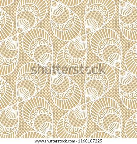 Seamless decorative lace pattern on beige background