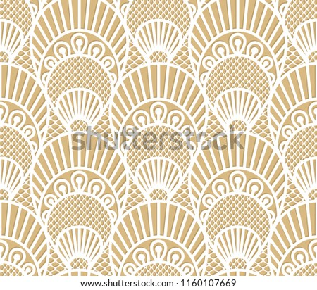 Seamless decorative lace scales pattern on beige background
