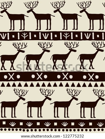 Seamless decorative ornamental texture with deers and geometric pattern. Template for design and decoration textile, backgrounds, wrapping paper