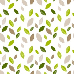 Seamless decorative template texture with green and beige leaves. Seamless stylized leaf pattern.