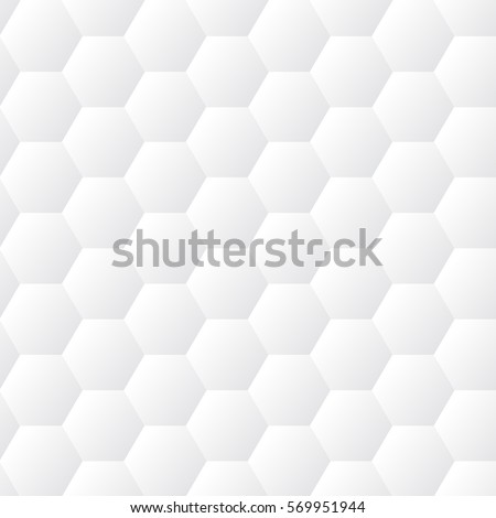 Seamless dented hexagons white wall texture. Honeycomb background vector pattern