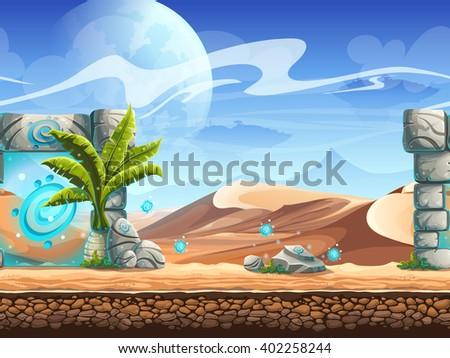 seamless desert with palms and