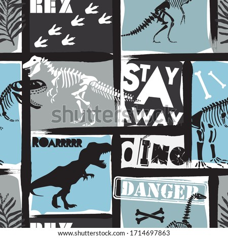 Seamless  Dino pattern, print for T-shirts, textiles, wrapping paper, web. Original design with t-rex,dinosaur.  grunge design for boys .
