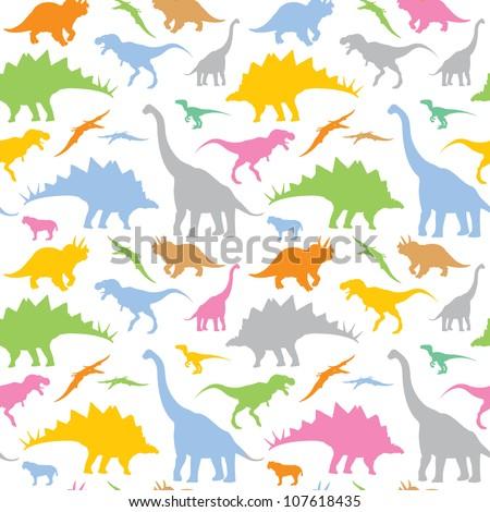 Seamless dinosaur pattern - vector illustration