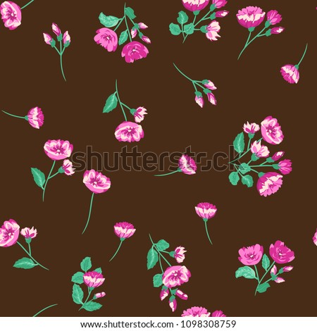 Seamless ditsy pattern in small cute wild flowers. Delicate bouquets. Liberty style millefleurs. Floral background for textile, wallpaper, pattern fills, covers, surface, print, wrap, scrapbooking.
