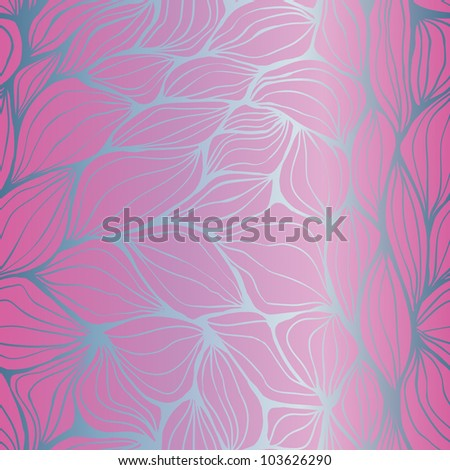 Seamless doodle abstract violet and blue gradient waves pattern