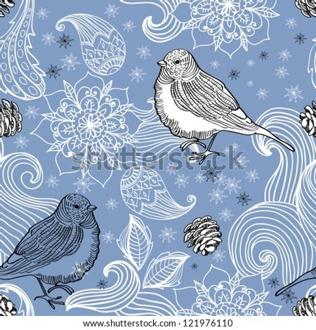 Seamless doodle background bird and floral elements for holiday design, vector