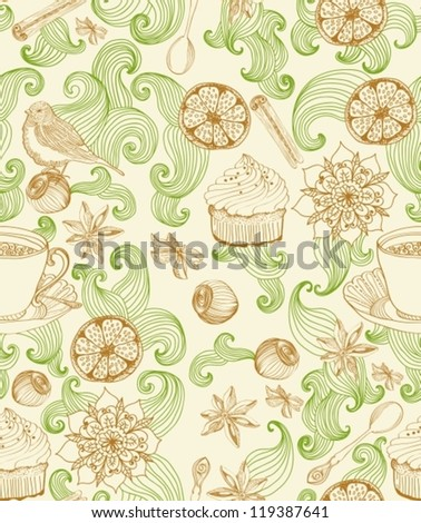 Seamless doodle background for tea time, illustration for design, vector