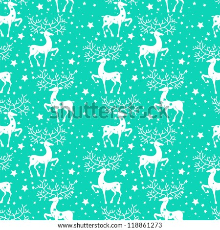 Seamless doodle background with deer, illustration, vector