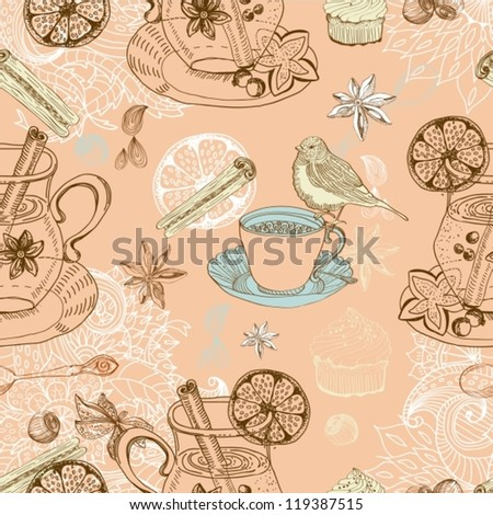 Seamless doodle background with mulled warm wine, tea cup, bird, vector